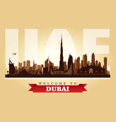 dubai uae city skyline silhouette vector image