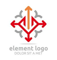 Element red arrow orange design symbol icon vector