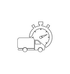fast delivery line icon shipping truck black vector image