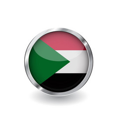 flag of sudan button with metal frame and shadow vector image