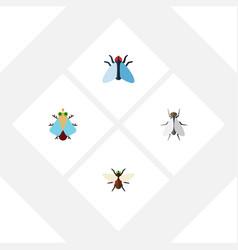 Flat icon housefly set of bluebottle tiny vector