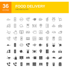 Food delivery line web glyph icons vector