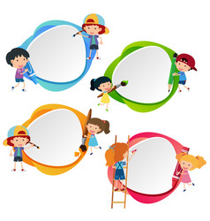 Four badges with kids and crayons vector