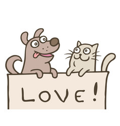 Funny cat with a dog is shown with the vector