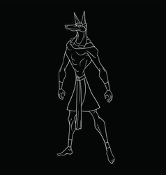 God anubis on a black background vector