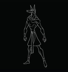 God anubis on a black background vector