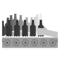 Grayscale bottles of beers in the factory icon vector