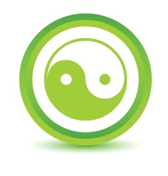 Green Yin Yang icon vector