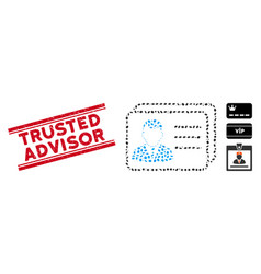 Grunge trusted advisor line seal and mosaic vector