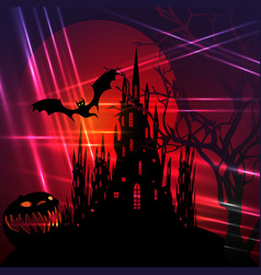 Halloween red party scary bats and gothic castle vector