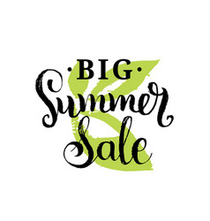 handwritten big summer sale on vector image