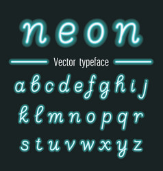 handwritten neon light alphabets vector image