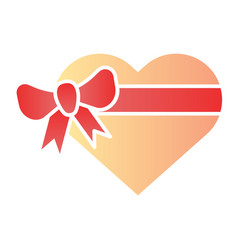 heart gift box with bow flat icon love present vector image