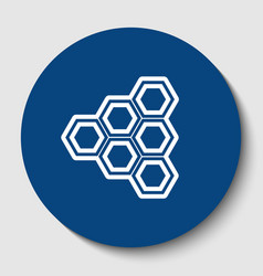 honeycomb sign white contour icon in dark vector image