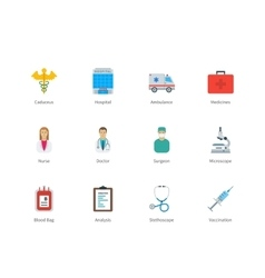 Hospital and Medicine color icons on white vector image