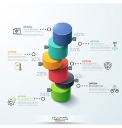 infographic template Modern cylinder bar chart vector image