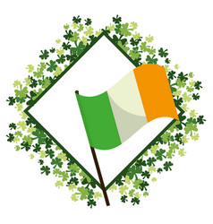 Irish flag with clovers frame vector
