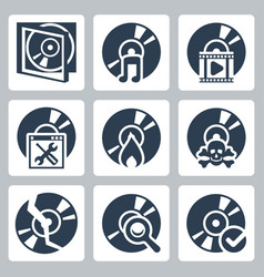 isolated compact disk icons set case music video vector image