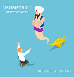 isometric businessman and genie giant in the vector image