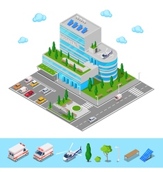 Isometric Hospital Medical Center Modern Building vector image