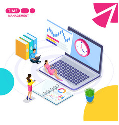 Isometric the concept of business time management vector
