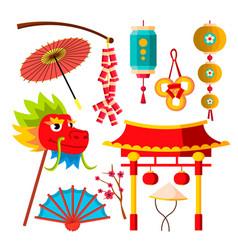 japanese chinese icons sakura dragon vector image