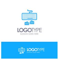 Keyboard interface type typing blue logo line vector
