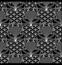 lace textured vintage damask love seamless vector image