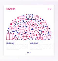 location concept in half circle vector image