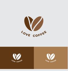 Love coffee logo cafe restaurant emblem beans vector