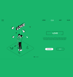 love - line design style isometric web banner vector image