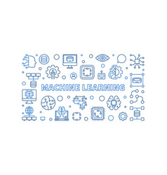 machine learning line banner ml vector image