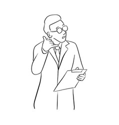male doctor showing a phone call gesture vector image