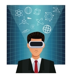 Man business wearing augmented reality device vector