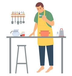 man cooking kitchen decoration hob vector image