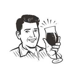 man with a glass wine sketch vector image
