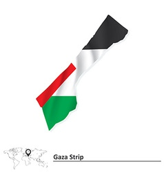 Map of Gaza Strip with flag vector image