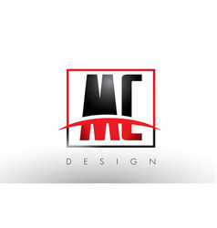 mc m c logo letters with red and black colors and vector image