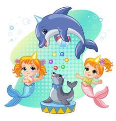 mermaids seal and dolphin show a circus vector image