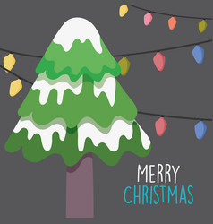 merry christmas celebration tree with snow and vector image