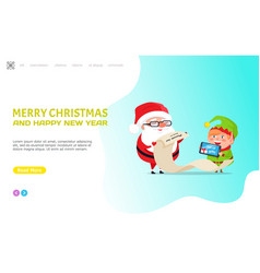 merry christmas happy new year santa claus elf vector image