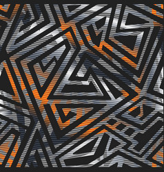 metal geometric pattern with carbon effect vector image