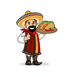Mexican cook with menu and tacos vector image