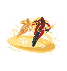 motocross riders taking part in riding competition vector image