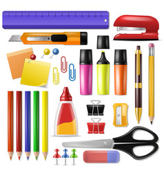 Office supply stationery school tools icons vector