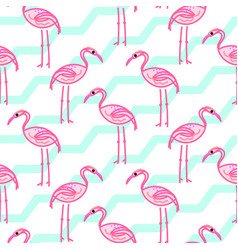 Pink flamingo on chevron blue and white pattern vector