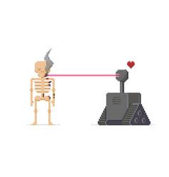 Pixel art robot vector