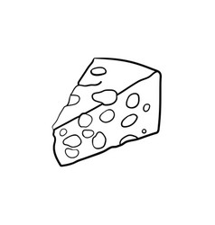 portion of cheese hand drawn sketch icon vector image