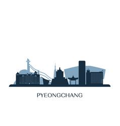 pyeongchang skyline monochrome silhouette vector image