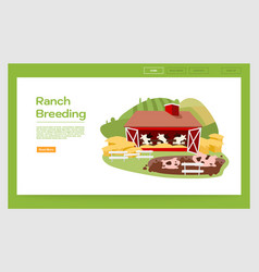 Ranch breeding landing page template livestock vector